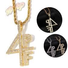 4PF Bubble Letters Number Combine Pendant Necklace Hip Hop Men's ...