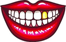 Amazon Com Simple Red Lip Mouth With Teeth Cartoon Emoji Vinyl Sticker 2 Wide Gold Crown Kitchen Dining