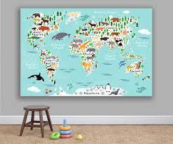 Animal World Map Kids Room Canvas Art Nursery Animals Photo Etsy