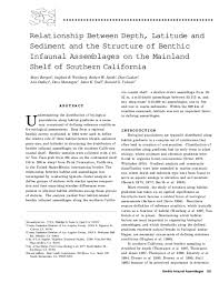 PDF) Relationship between depth, sediment, latitude, and the structure of  benthic infaunal assemblages on the mainland shelf of southern California |  David Montagne, Mary Bergen, and Donald Cadien - Academia.edu