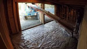 pouring a concrete floor in a shed