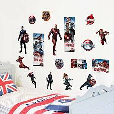 Fangeplus Tm Diy Removable The Avengers Marvel Comics Art Mural Vinyl Waterproof Wall Stickers Kids Room Decor Nursery Decal Sticker Wallpaper 23 6 X11 8 Baby B01gc6060y