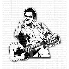 From 4 50 Buy Johnny Cash Flipping The Bird Sticker At Print Plus In Stickers Movie Music At Print Plus