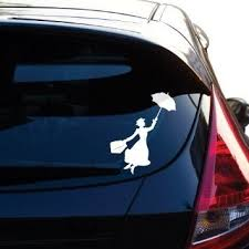 Mary Poppins Flying With Umbrella Decal Sticker For Car Window 5 5 Inches White Wish