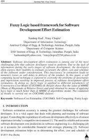 Fuzzy Logic based framework for Software Development Effort ...
