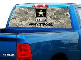 P482 Us Army Camo Rear Window Tint Graphic Decal Wrap Back Truck Tailgate Ebay