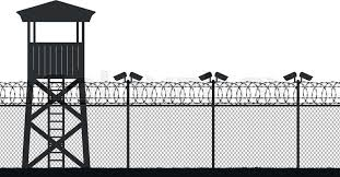 Barbed Wire Background Watch Tower Wire Mesh Fence Prison