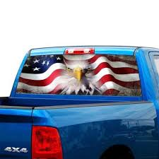 65 X 22 American Flag Eagle Running Horse Rear Window Tint Graphic Decal Wrap Back Truck Tailgate For Most Pick Up Trucks Wish