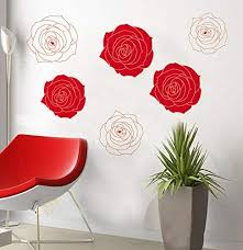 Amazon Com Good Life Fashion Floral Wall Decal Flower Wall Stickers Big Red Rose Pattern Wall Decals Wall Art Sticker Home Kitchen