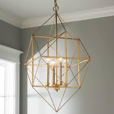 geometric light fixture shade of gold