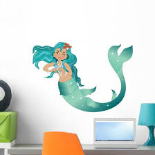 Sea Green Mermaid Wall Decal Wallmonkeys Com