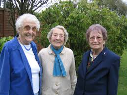 Joan and Vera Saberton with Ivy Rogers in Vera's garden in Pymoor. |  Domestic landscapes | Pymoor