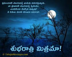 telugu beautiful good night love quote sms for lover good