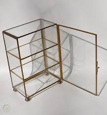 vtg brass glass mirror footed table top