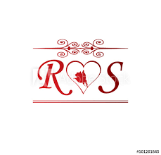 rs love initial with red heart and rose