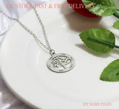 pendant name necklace silver plated
