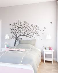 Stylish Grey And Pink Girls Bedroom With Wall Tree Decals Roomdsign Com