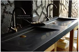 63 double black granite trough sink
