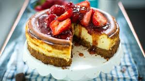 new york style baked strawberry cheesecake