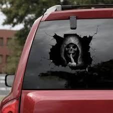 Big Sale A6c63 2pcs Mute Skull Car Sticker Car Rear Window Demon Reflective Sticker Car Glass Foreign Trade Color Car Sticker Cicig Co