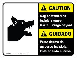 Caution Dog Contained By Invisible Fence Ansi Bilingual Landscape Wall Sign Creative Safety Supply