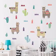 Indian Style Alpaca Cactus Children Room Wall Stickers Cartoon Animal Removable Decals Nursery Home Decoration Paste Cheap Wall Decal Cheap Wall Decals From Sunshine World 6 37 Dhgate Com