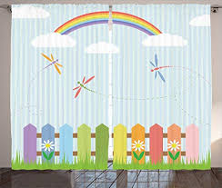 Amazon Com Ambesonne Dragonfly Curtains Colorful Dragonflies Drifting Over Fences A Sunny Rainbow Day Kids Nursery Theme Living Room Bedroom Window Drapes 2 Panel Set 108 X 84 Multicolor Home Kitchen