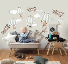 Kids Green Hot Air Balloon And Brown Aircraft With Clouds Wall Decal Sticker Wall Decals Wallmur