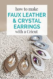 faux leather crystal earrings