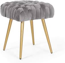 Amazon Com Adeco Knit Lines Ottoman Stool Seat For Living Room Kids Room Chairs Modern 17 Inches Height Gray Flannel Furniture Decor