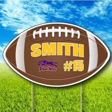Football Shaped Team Player Fence Yard Signs Football Yard Signs Yard Signs Football Signs