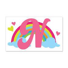 Letter N Rainbow Monogrammed 20x12 Wall Decal By Homewiseshopper Cafepress