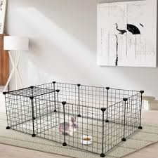 Ubesgoo Pet Playpen Multipurpose Diy Black Small Animal Cage Indoor Portable Metal Wire Yard Fence For Small Animals Guinea Pigs Rabbits Kennel Crate Fence Tent Walmart Com Walmart Com