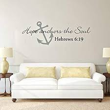 Amazon Com Scripture Wall Decal Anchor Wall Decal Hope Anchors The Soul Wall Decal Bible Verse Wall Sticker Art A X Large Anchor Slate Gray Words Black Kitchen Dining