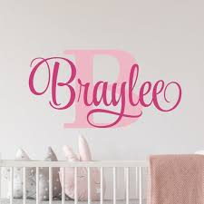 Personalized Name Wall Decal Girl Monogram Initial Fancy Etsy