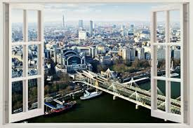 London Skyline View Urban Scape Window View Wall Stickers Huge 3d Art Decal City Ebay