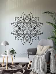 New Flower Mandala Wall Decal Gold Mandala Design Vinyl Sticker For Bedroom Livingroom Yoga Studio Meditation Style Decor Lc1784 Leather Bag