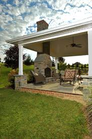 covered porch with stone hearth