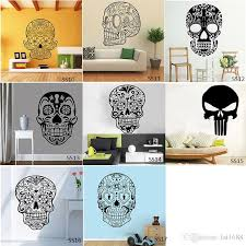 Sugar Skull Wall Stickers Vinyl Scared Skull Wall Sticker Decal Cartoon Flowers Music Skull Decals Home Decor Wall Decals For Home Wall Decals For Home Decor From Fst1688 9 58 Dhgate Com