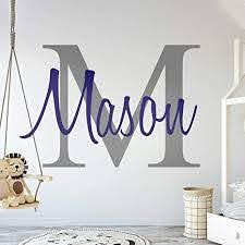 Amazon Com Custom Name Initial Premium Series Baby Boy Wall Decal Nursery For Home Bedroom Children M511 Wide 22 X 15 Height Arts Crafts Sewing