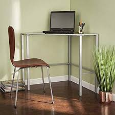com metal desk with glass top