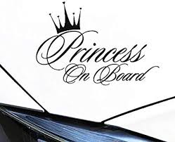 Amazon Com Vylymuses Car Stickers And Decals Princess On Board Stikcers With Crown For Girl Car Window Decal Bumper Stickers 6 5x4 29 Truck Vans Laptop Vinyl Stickers Vehicle Safety Sticker Sign Arts Crafts