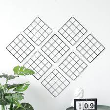 metal mesh grid panel photo wall decor