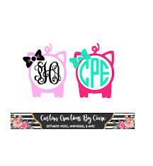 Pig Monogram Decal With Bow Pig Monogram Decal Show Pig Etsy In 2020 Monogram Decal Monogram Vinyl Decal Vinyl Monogram