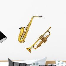 Saxophone And Trumpet Wall Decal Wallmonkeys Com