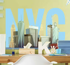 Cartoon Nyc Skyline New York Sticker Tenstickers