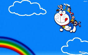 flying doraemon in sky blue background hd
