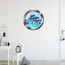 Dolphins Porpoise Window Porthole Wall Decal Peel And Stick Etsy