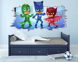 Pj Mask Wall Decal Sticker Vinyl Wall Decor 3d Wall Hole Wall Etsy