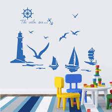 Vinyl Wall Stickers Home Decor Sailboat Lighthouse Seagull Wall Art Decals For Kids Room Decoration Stickers Decal Porcelain Art Wall Decaldecals Wheel Aliexpress